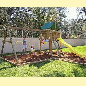Keep some grass, just mulch out the swing, maybe make it curvy to be prettier. Pathfinder Swing Sets Kits: Kits & Plans for Outdoor playsets, furniture, etc.