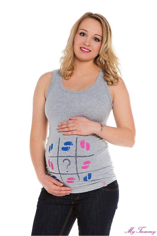Koszulka ciążowa na ramiączkach Stópki szara