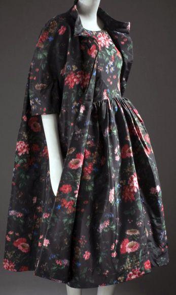 Balenciaga - Robe de Cocktail et Veste 'Fleurs' - Taffetas de Soie - 1957