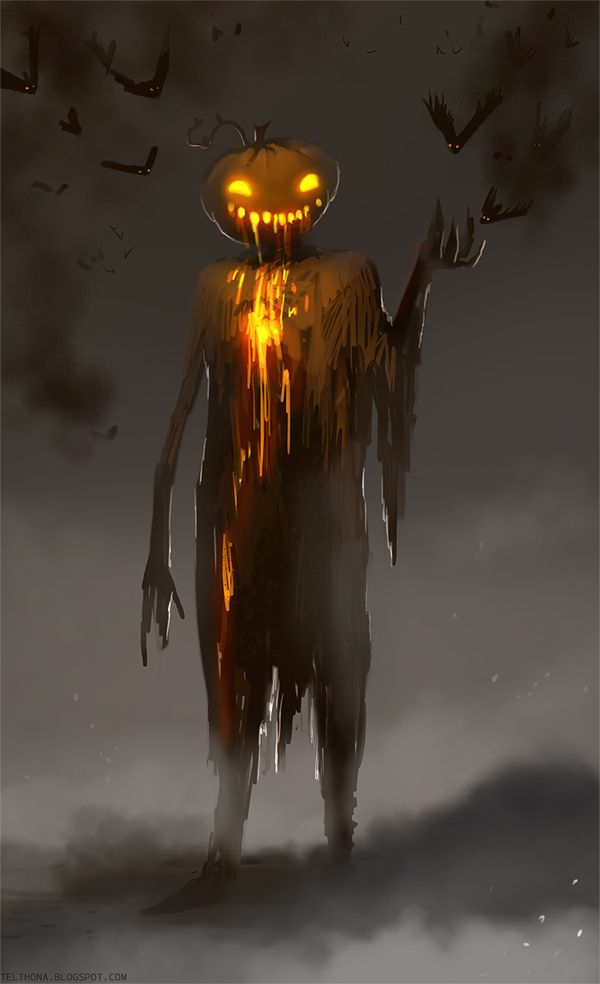 Halloween, All Hallows Eve, Trick or Treat, Witch, Goblin, Ghost, Black Cat, Bat, Skull, Ghouls, Scarecrow, Grim Reaper, Jack-O-Lantern, Pumpkin, Spooky, Scary, Haunting, Creepy, Frightening, Full Moon, Autumn, Fall, Magic Potion, Spells, Magic, Haunted - Mr Pumpkin by telthona.deviantart.com
