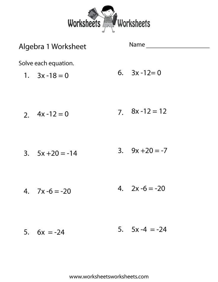 Algebra 1 Practice Worksheet Printable   Algebra Worksheets