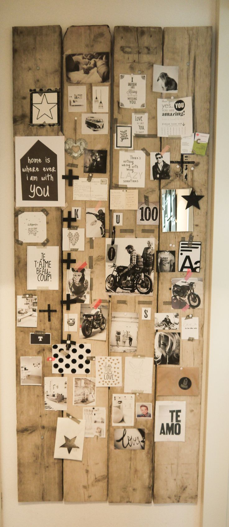 Use scraps of wood to create the board and stick pictures, notes, ideas, etc. to it. Rather than gluing stuff to a poster board, this would be a more changeable board!