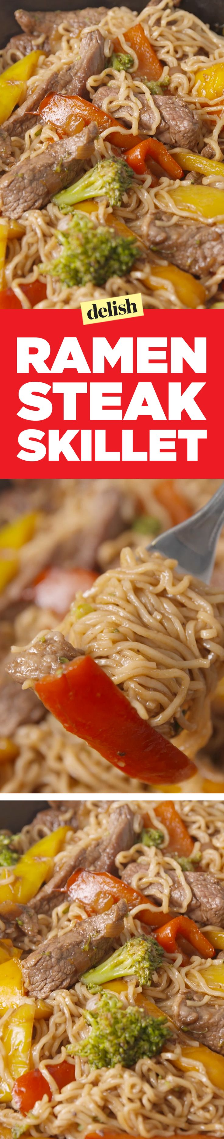 Ramen steak skillet is the best way to upgrade your ramen noodles. Get the recipe on Delish.com.