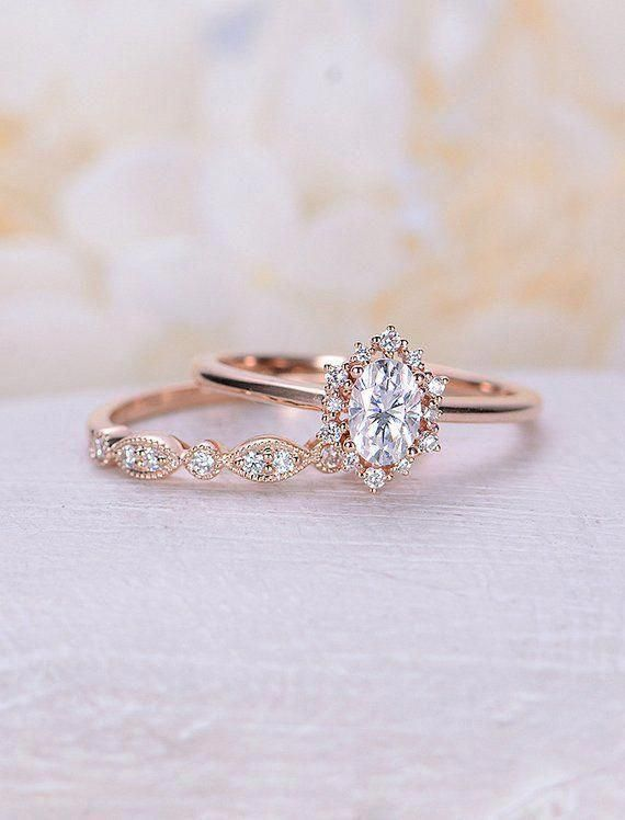 Vintage engagement ring set Oval cut Moissanite engagement ring rose gold diamond halo wedding Bridal Anniversary Gift for women