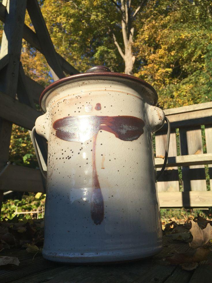 http://richardfisherpottery.com/ Compost Pot White Shino Copper Dragonfly