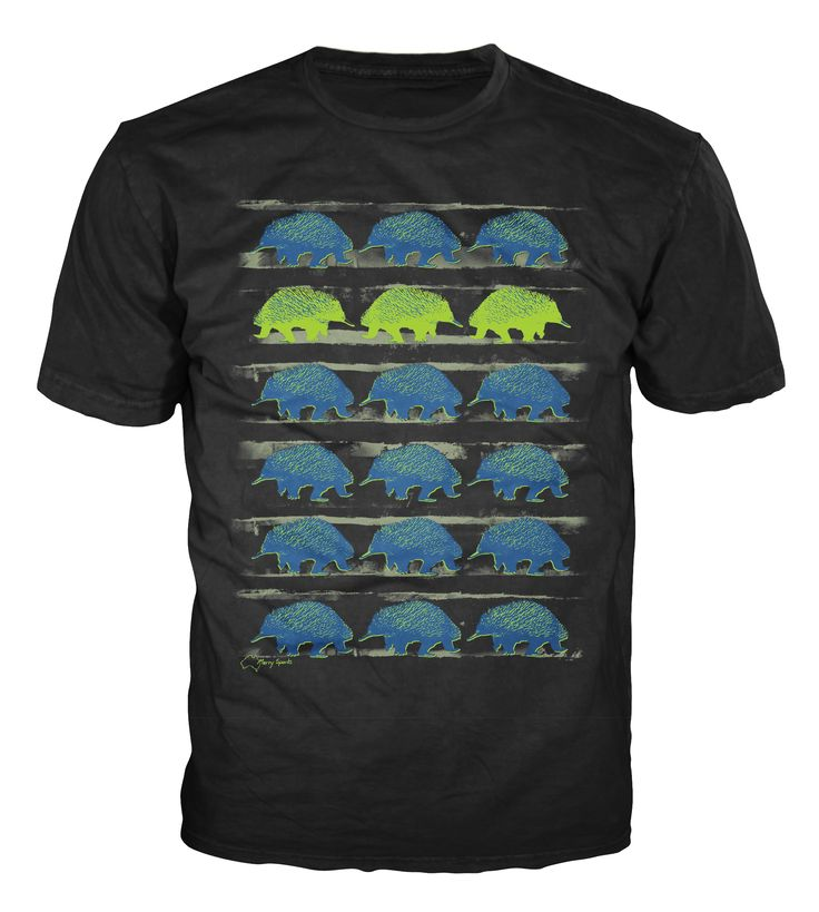 """Australian Souvenirs - Echidnas from my painting series """"Follow Me, Follow You"""" T-shirt and Tank for Guys and Chicks, sizes: XS (Chicks only), S, M, L, XL and 2XL (Guys only) in black by Merry Sparks http://merrysparks.com/tshirts-tanks/"""