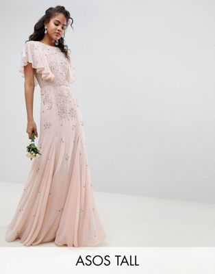 9eee086de8 ASOS DESIGN Tall delicate embellished bridesmaids maxi dress with angel  sleeve