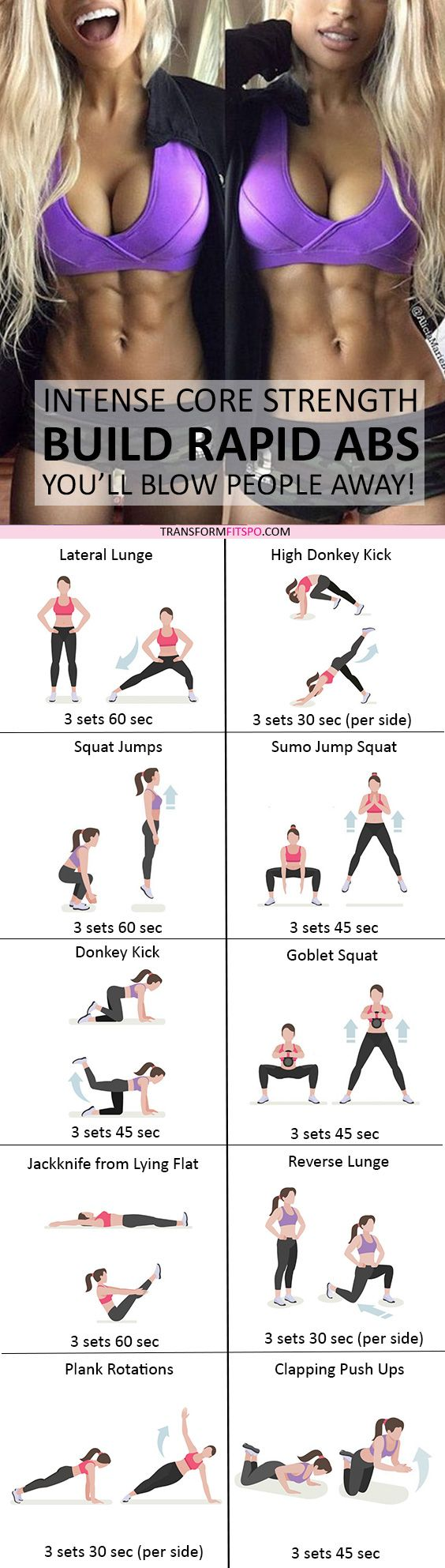 #womensworkout #workout #femalefitness Repin and share if this workout gave you rapid abs! Click the pin for the full workout.