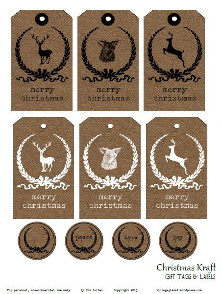 Christmas Kraft Tags and Labels, free printable by Vintage Glam Studio