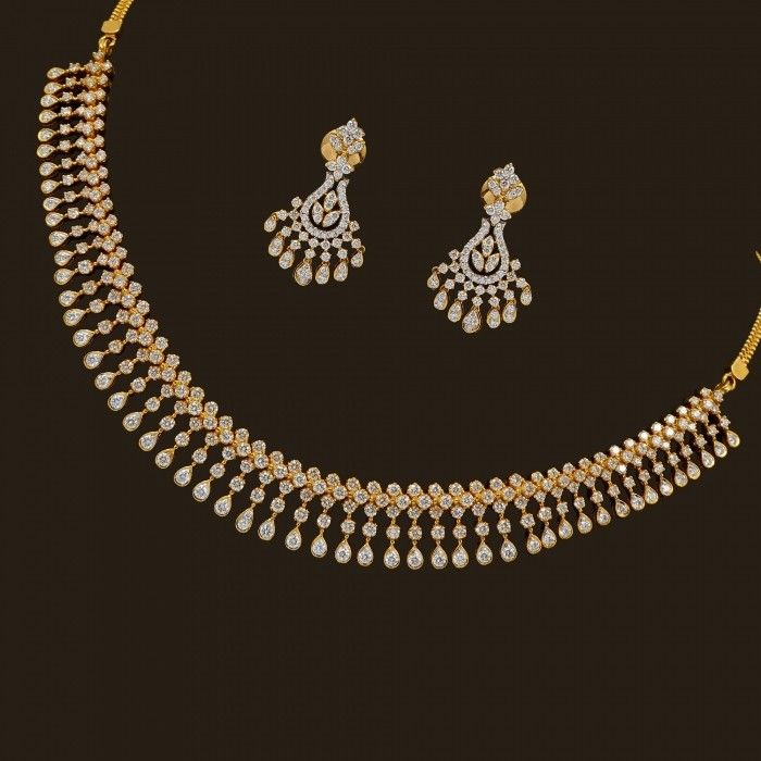 Diamond Necklace Set (137A8949-139A14681) | Vummidi Bangaru Jewellers