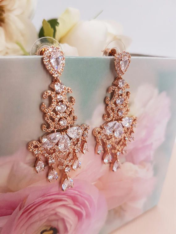 Bridal earrings rose gold bridal earrings  Rose Gold
