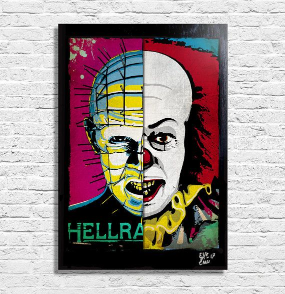 Pinhead from Hellraiser and Pennywise Clown from IT by ArtHoleShop