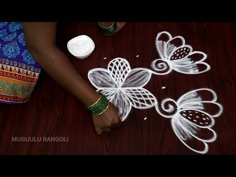 rangoli latest designs with dots || simple and easy flower kolam designs with 6 dots || muggulu - YouTube