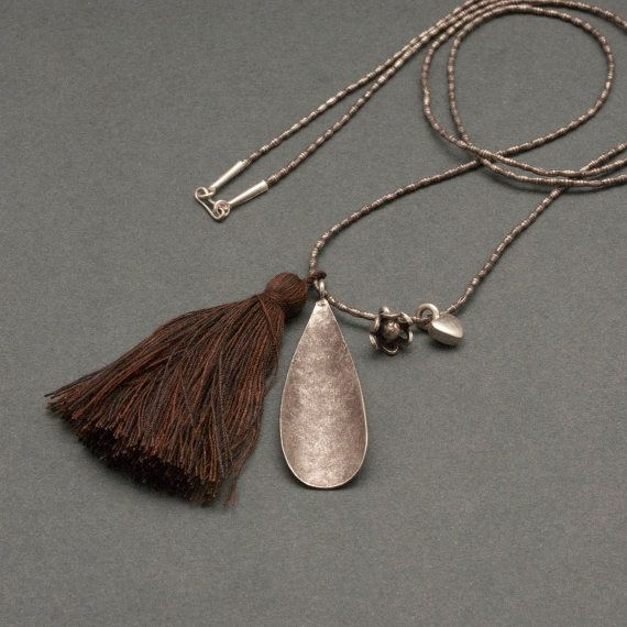 Long Sterling Silver Tassel Necklace Waved Tear by PiscesAndFishes