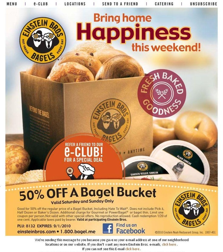 Einstein bagel coupon july 2018