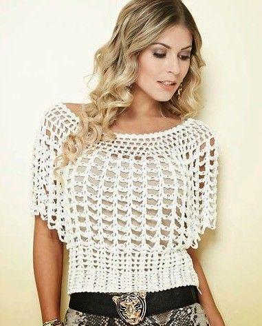 32c8667c4 Fabulosas Blusas Tejidas a Crochet con Patrones - Manualidades Y  DIYManualidades Y DIY