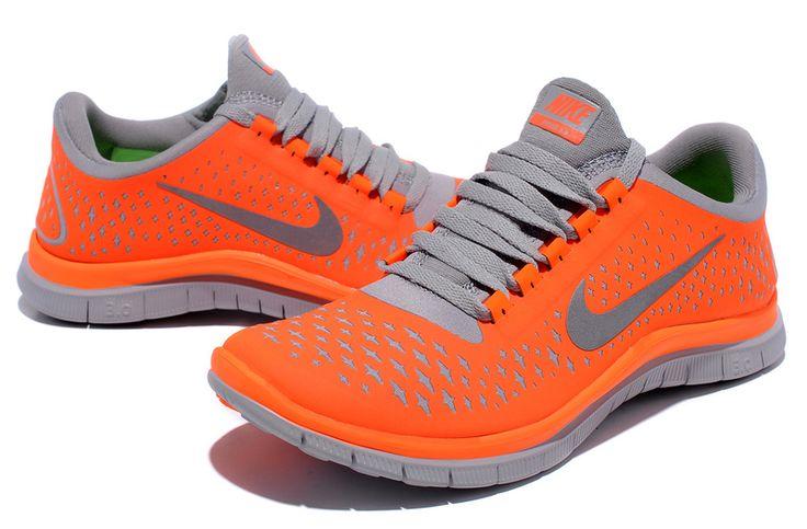 nike free run 3.0 v4 orange grey womens unique running shoes-hot orange womens free