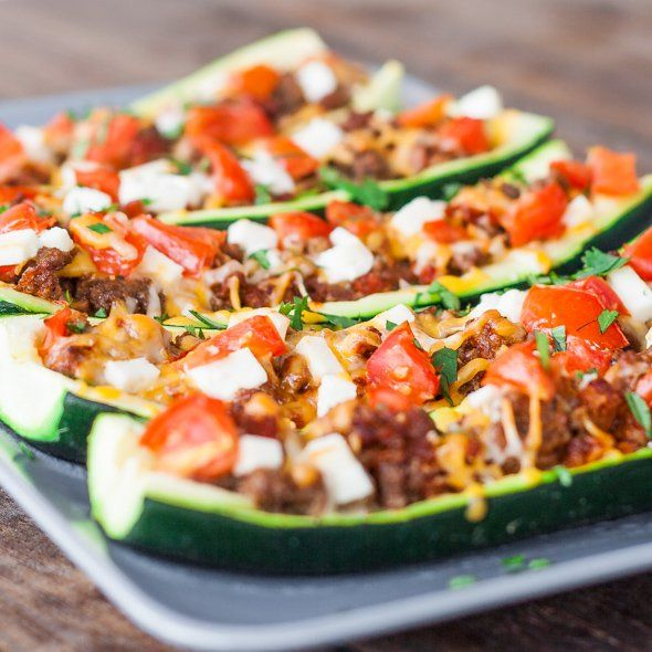 These stuffed zucchinis are super easy to make, and they look great and impressive. These zucchinis would be perfect stuffed with mushrooms, for a veggie version.