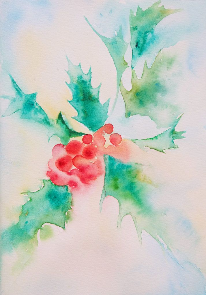 Holly plant Watercolor card