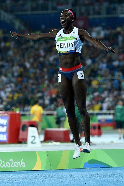 Desiree Henry of Great Britain celebrate winning bronze in the Women's 4 x 100m…