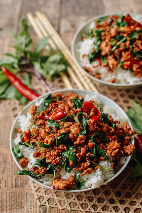 {THAILAND} Thai Basil Chicken - easy meal ready in under 30 minutes