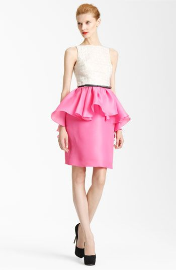 Jason Wu Peplum Dress  Houndstooth-Patterned lace tops a sophisticated dress designed with a floaty peplum waist that trals to a dramatic cascade in back. A skinny bow belt finishes the exquisite silhouette.