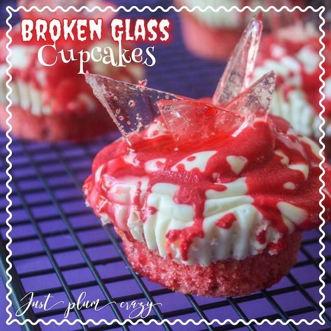 Broken Glass Cupcakes - Halloween recipes with left over candy. #12DaysOf Halloween