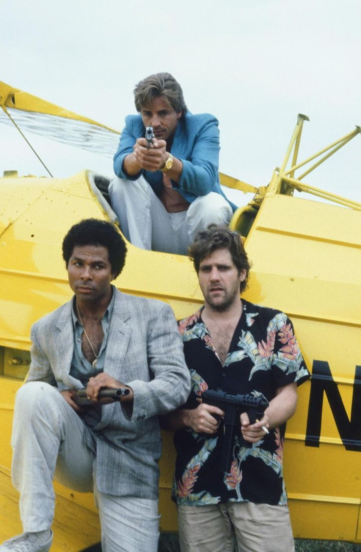 """A man of manly talents, Glenn Frey had a recurring role on """"Miami Vice."""" He is pictured here along with Philip Michael Thomas and Don Johnson in a promotional photo from Season 1 of the show."""