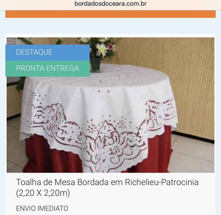 😍👉 ENVIO IMEDIATO/ PARA TODO BRASIL  UM LUXO PARA SUA MESA 😉😍👍 👉 TOALHA DE MESA BORDADA EM RICHELIEU-PATROCINIA (2,20 X 2,20M). 👉 Tecido Percal 230 Fios 100% Algodão. 👉 Bordada na Linha 100% Algodão. 👉 Bordado Barra e Centro.  📱 WhatsApp 85 98959.9107 💻 http://www.bordadosdoceara.com.br/produtos/mesa/toalha-de-mesa-bordada-em-richelieu-patrocinia-2,20-x-2,20m-detail.html