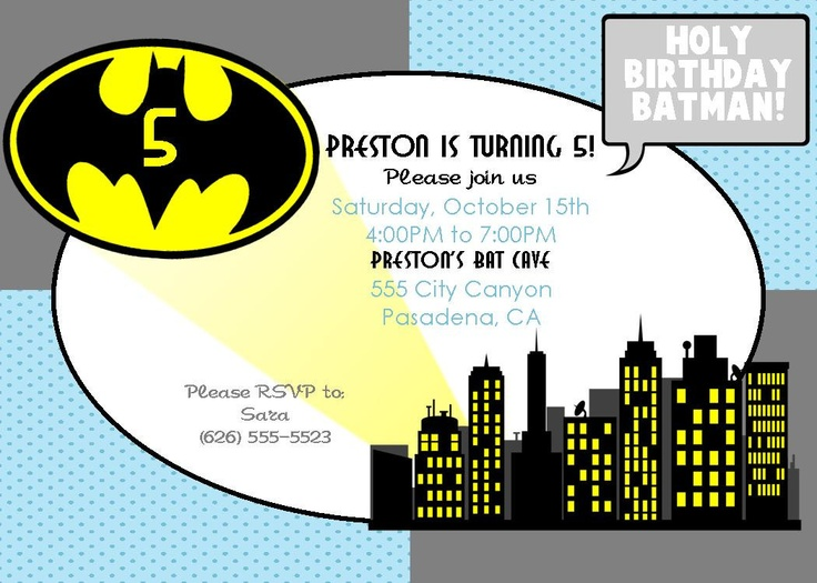 Batman Superhero Birthday Invitation - PRINTABLE - By A Blissful Nest. $15.00, via Etsy.