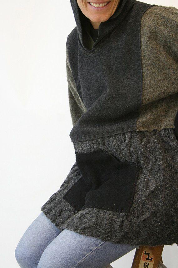 Câble pull à capuche XL par Crispinaffrench sur Etsy - recyclage de vieux pulls                                                                                                                                                                                 Plus