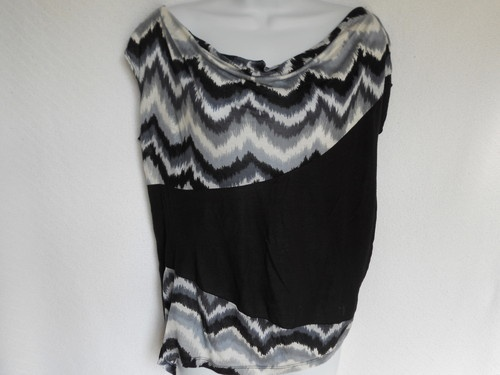 Womens Made for Me 2 Look Amazing Black Sz L XL Ruched Top Blouse Shirt Drapey | eBay