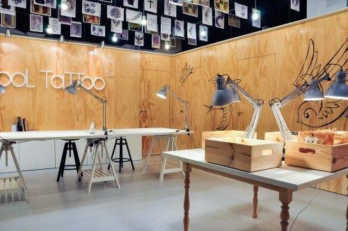 wooden walls decor tattoo shop studio interior design