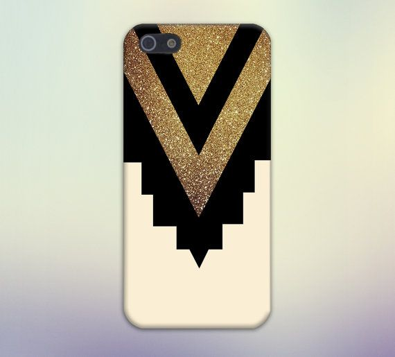 Gold Glitter x Black Chevron Cutout Design Case for iPhone and Samsung