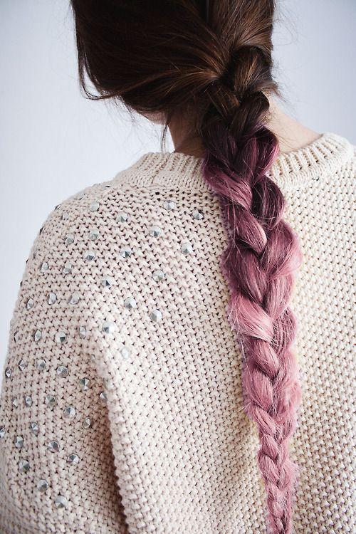 Lilac & Purple Dip Dye Braid