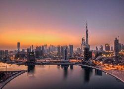 Drapacze, Chmur, Dubaj, Panorama, Miasta, Wschód, Słońca