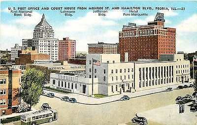 Peoria Illinois IL 1950s Post Office Court House Bank Antique Vintage Postcard Peoria Illinois IL 1950s Post Office, Court House, First National Bank, Lehmann building, Jefferson building and Hotel Pe