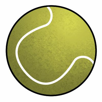 Simple cartoon tennis ball ready to be sketched.