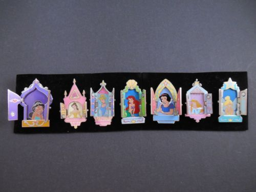 Disney Pins Set 7 Princess Hinged Windows Doors Ariel Belle Aurora Jasmine Tink   eBay