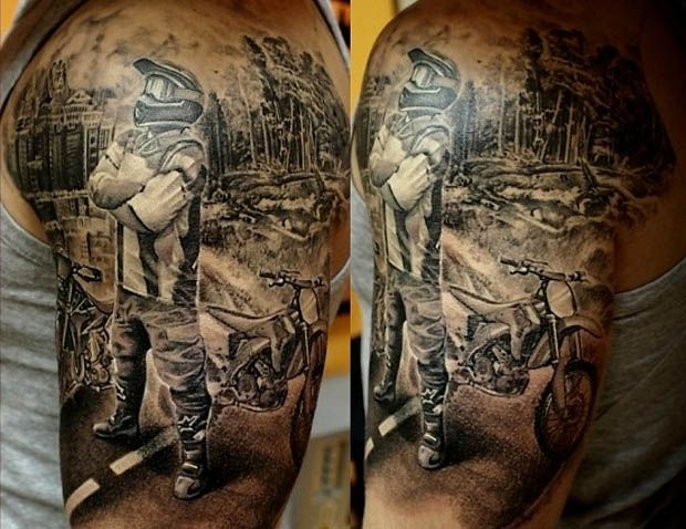 Don't forget about motocross when you talk about biker tattoos. #inked #inkedmag #tattoo #motorcycle #realism #beautiful #biker