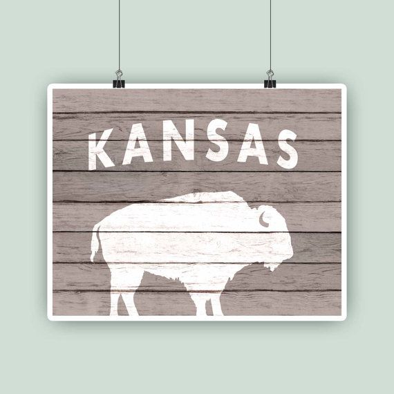 Kansas state art buffalo symbol Kansas State print by PrintCorner https://www.etsy.com/listing/208841290/kansas-state-art-buffalo-symbol-kansas?ref=shop_home_active_3
