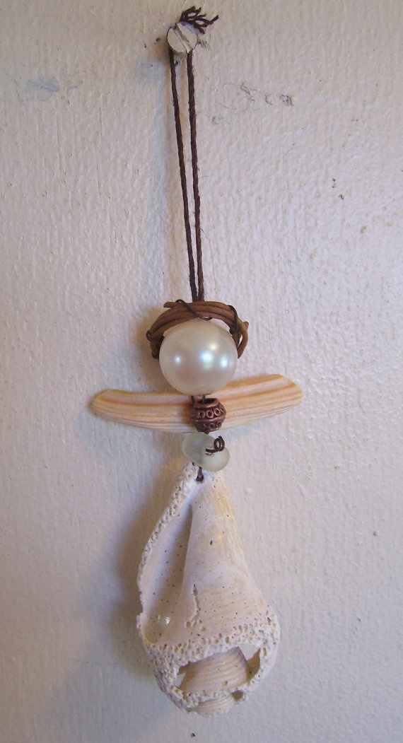 Seashell and Sea Glass Angel Ornament by BeachBaublesTM on Etsy, $20.00
