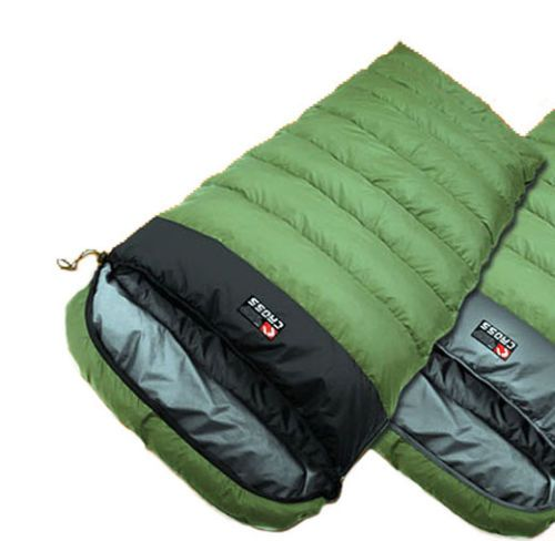 CROSS Cold Weather sleeping bag Duck Down Camping Hiking Travel Sheet KhakiBlack