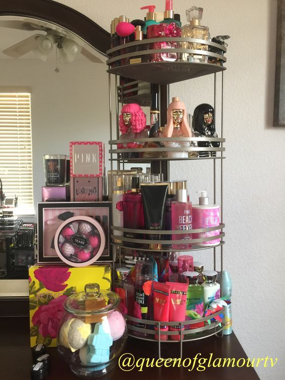 Instead of a cluttered dresser top, purchase a bathroom storage rack and organize your perfumes. Storage Racks are available at Ross, Walmart and Target for Under $15. This one was purchased at home goods for $19.99. And if you don't like the colors offered you could always spray paint it!:
