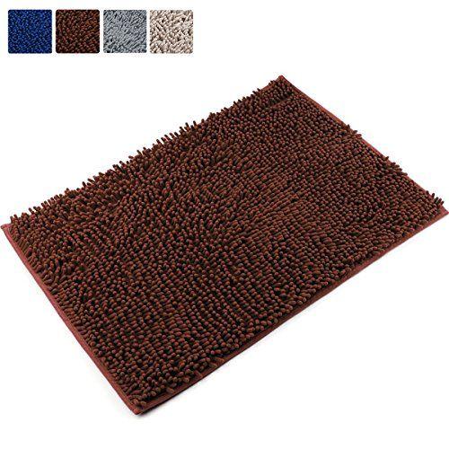 [Updated] VDOMUS Non-slip Microfiber Shag Bath Mat Bathroom Mats Shower Rugs - Brown 20 x 32 inches
