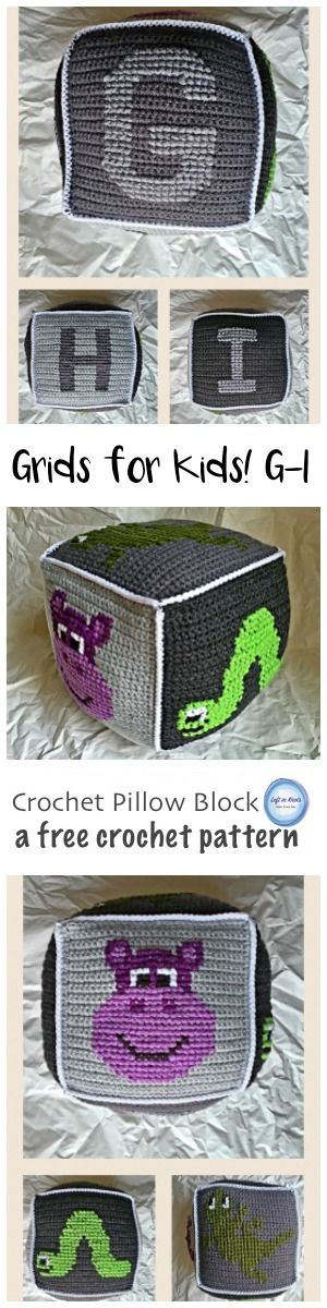 A free crochet pattern for a simple project combining basic crochet and cross stitch techniques. H is for Hippo, I is for Inch Worm, J is for Jellyfish. These squares can be combined to make a baby blanket or a stuffed pillow block perfect for any baby gift! A video tutorial is included to help you with assembly.