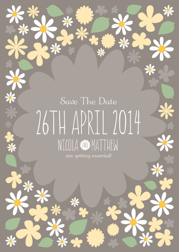 Daisy-themed Save The Date - adapted 'Rustic Florals' range from Polkadot Stationery - email hello@polkadotstationery.co.uk for more details