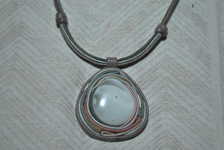 Leather necklace with artglass by EthnoBird.deviantart.com