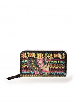 Sakroots Artist Circle Zip Around Wallet - Neon One World