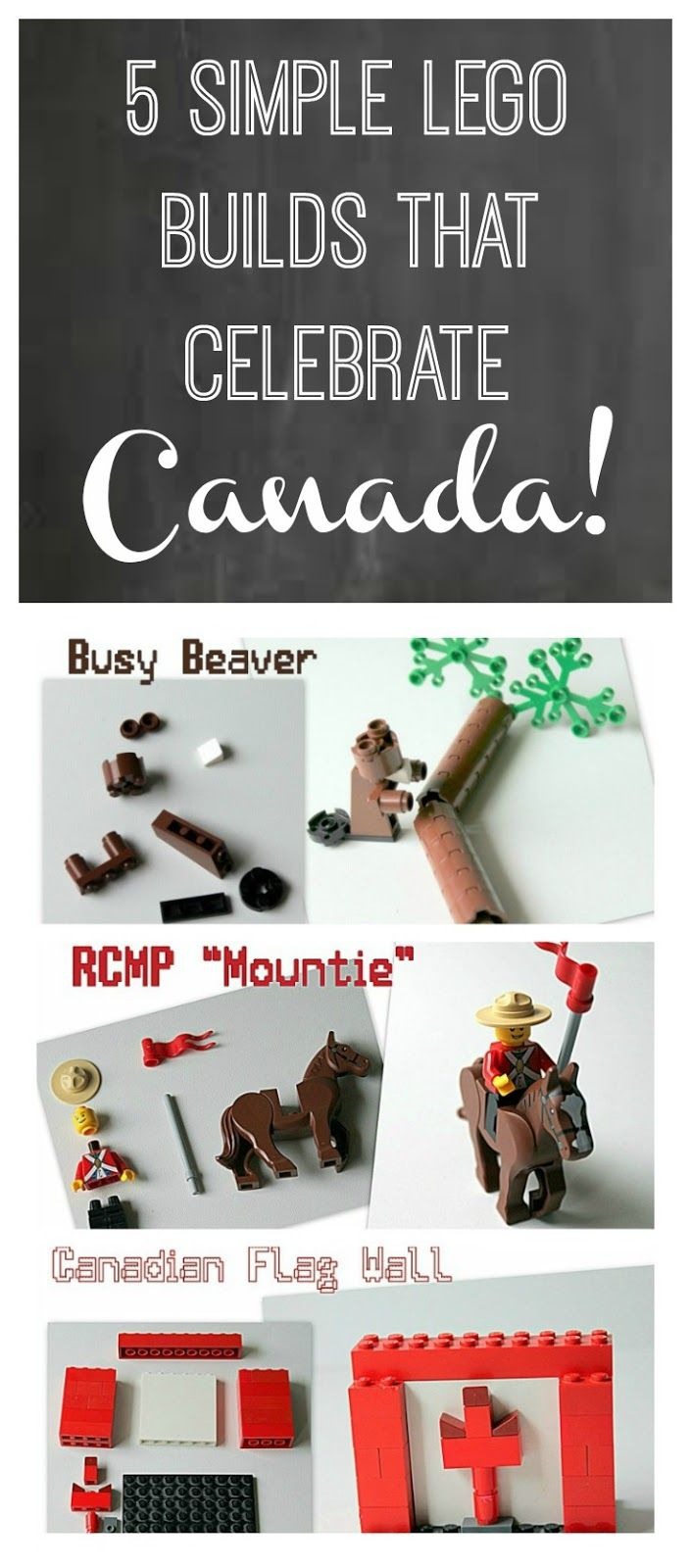 Five fun and quick Lego builds for Canada Day! How to build a beaver, tabletop hockey game, RCMP Mountie and horse, An Inuit many with a kayak and igloo and a Canadian flag to display! Hours of fun for your Lego fan.